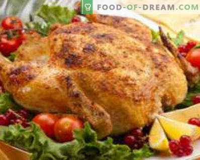 Pollo ripieno di mele al forno, intero, con arance, grano saraceno