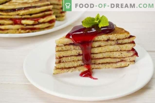 Pancake Cake su yogurt con gelatina di lamponi