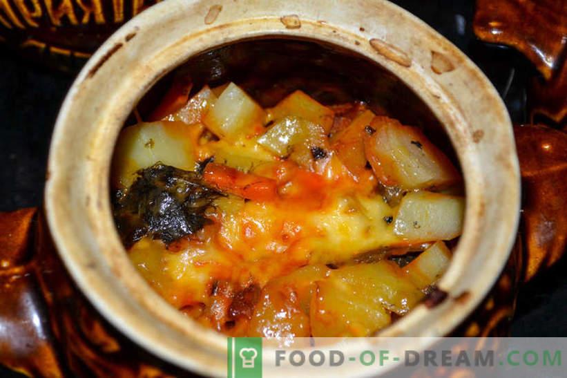 Arrosto in pentole - patate con funghi e salsiccia affumicata, deliziosa ricetta per gli ospiti