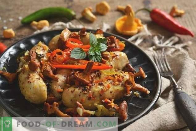 Salsicce di pollo al forno con funghi