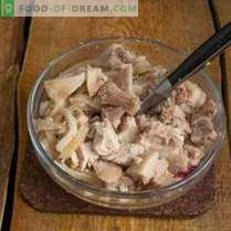 Nourishing pork salad with mushrooms in a country style