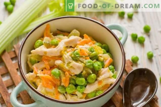 Fricassea di pollo con piselli - stufato di verdure in francese
