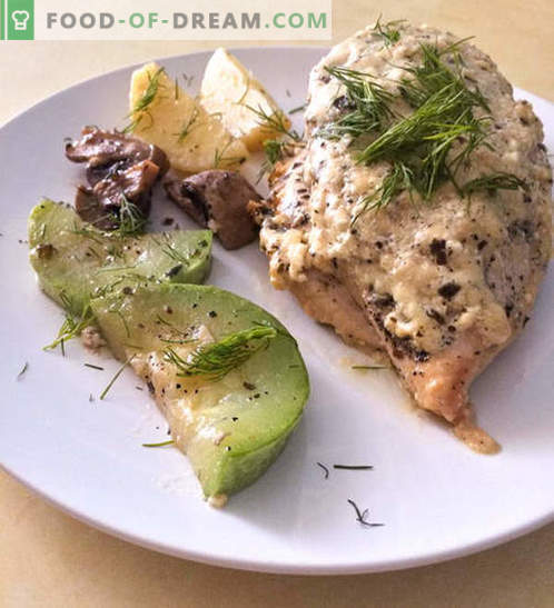Hühnerbrust in einer cremigen Käsesoße mit Gemüse - Rezept mit Fotos