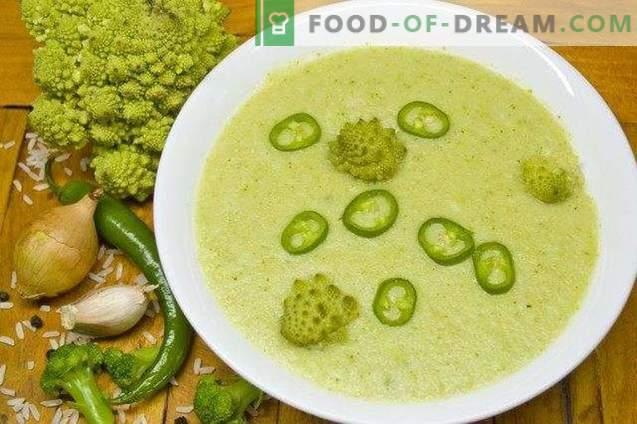 Minestra di broccoli e crema di romanesco