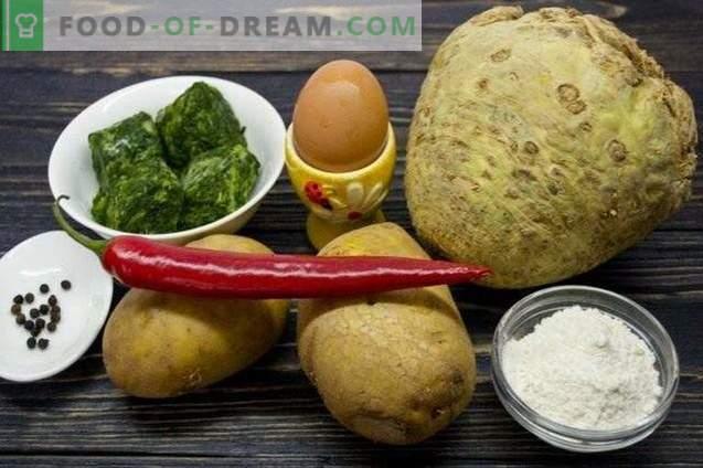 Gnocchi con sedano, spinaci e patate