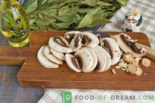 Insalata con funghi fritti e pollo