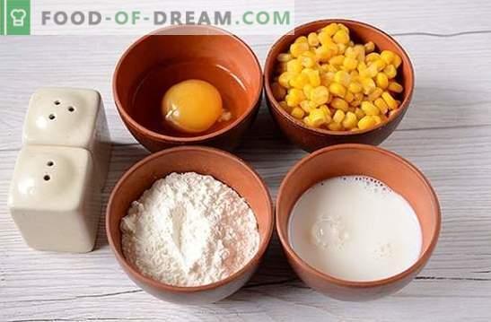 Frittelle con mais: usare il mais in scatola dalle lattine! Ricetta fotografica dell'autore per i pancake con mais su kefir