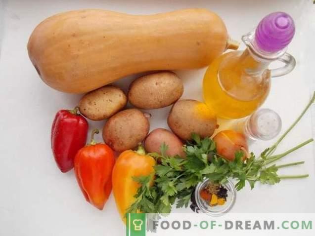 Patate al forno con zucca e verdure