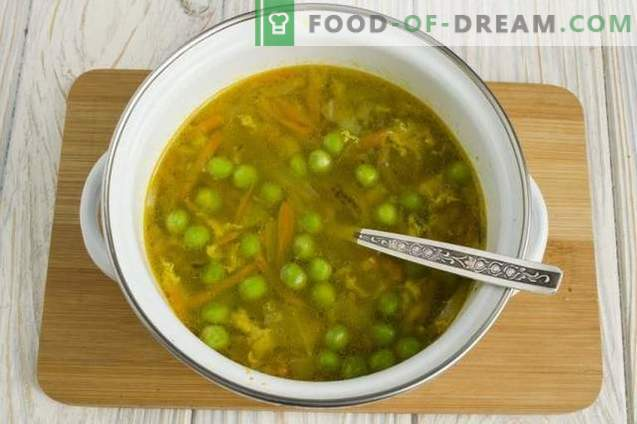 Chicken Soup with Green Peas and Mushrooms