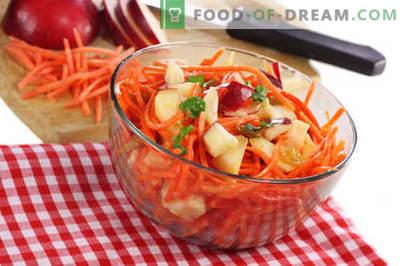 Burkānu un ābolu salāti - labākās receptes. Kā pareizi un garšīgi sagatavot burkānu un ābolu salātus.