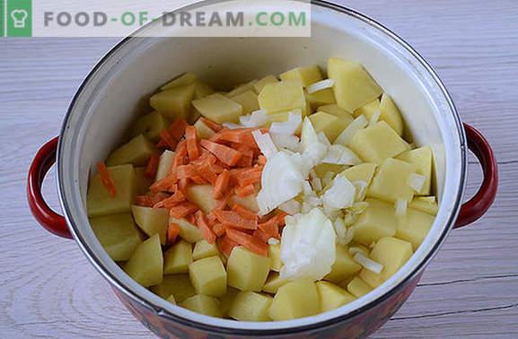 La ricetta classica per le patate con carne in scatola: il gusto della cucina del paese sovietico. Come cucinare le banali patate con lo stufato delizioso: una ricetta passo dopo passo con le foto