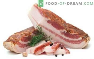 Seno salato - una vera prelibatezza di bacon! Ricette di cucina, snack e modi per servire la pancetta salata