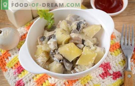 Patate con funghi al forno con panna acida - un piatto aromatico e nutriente. Autore passo dopo passo ricetta foto di patate al forno con funghi
