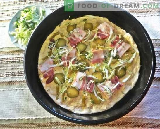 Pizza al forno: una ricetta con foto. Impasto italiano, ripieno appetitoso - pizza fatta in casa al forno: passo dopo passo foto-ricetta