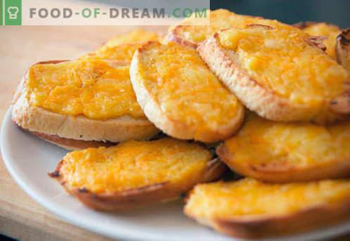 Crostini con formaggio - le migliori ricette. Come crostini cotti correttamente e gustosi con formaggio.