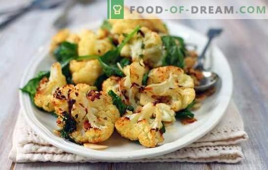 Ciò che può essere cucinato dal cavolfiore in modo rapido e gustoso è il primo e il secondo, contorno e antipasto. Piatti semplici a base di cavolfiore