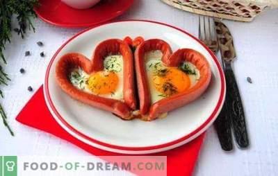 Uova fritte con salsicce - gustose, soddisfacenti, romantiche! Ricette di diverse uova fritte con salsicce: cuori, uova fritte miste,