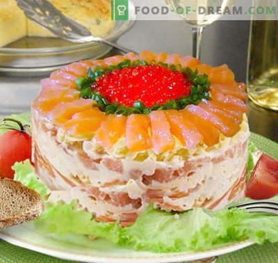 Insalata di zar con salmone - le ricette giuste. Cucina veloce e gustosa Insalata reale con salmone.