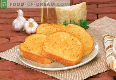 Croûtons à l'ail - les meilleures recettes. Comment bien et savoureux toast cuit à l'ail.