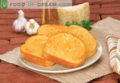 Crostini con aglio - le migliori ricette. Come si prepara e gustoso pane tostato con aglio.