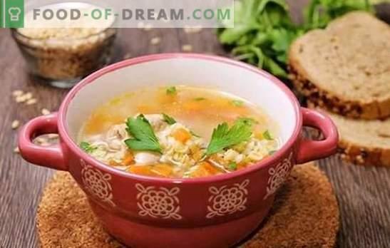 Orzo perlato di brodo di pollo - ricco sapore di cibo nutriente. Ricette zuppe, zuppe e sottaceti in brodo di pollo con orzo