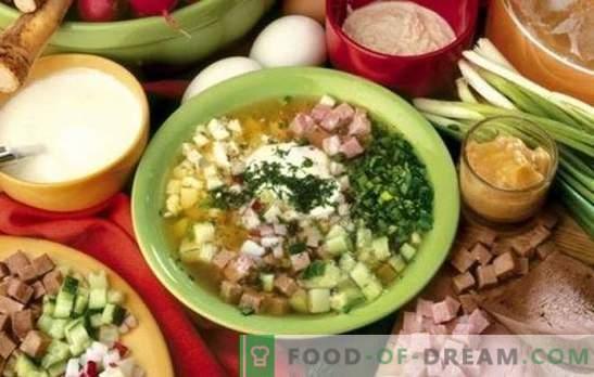 Okroshka sull'acqua - deliziosa zuppa fredda. Ricette okroshka in acqua con aceto, panna acida, maionese