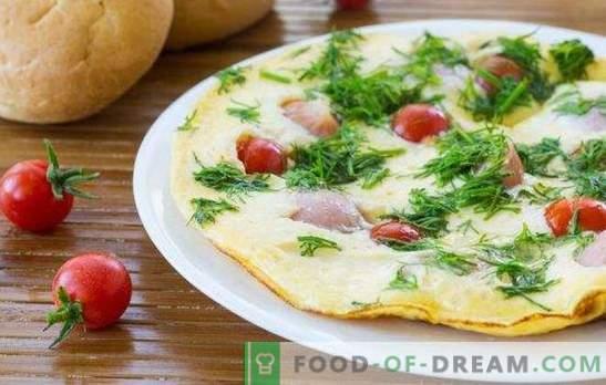 frittata con salsicce - una colazione semplice e ricca! Cottura di deliziose frittate con salsicce in forno, microonde, fornello lento e padella