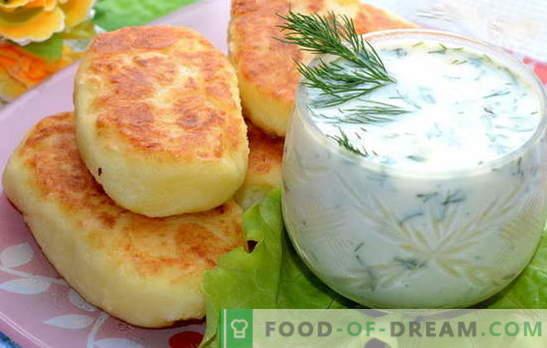 Polpettine di purè di patate - un'ottima cena. Cotolette di purè di patate con salsiccia, aringa, carne macinata, funghi