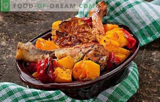 pollo con zucca al forno - il piatto autunnale numero uno! Pollo con zucca al forno con spezie, mele, arance, funghi