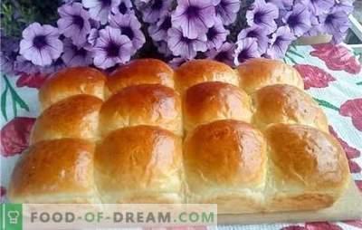 Pasta lievitata - panini d'aria. Panini d'aria con uvetta, ciliegie, vaniglia, cannella, latte condensato bollito o aglio