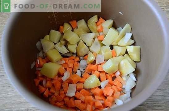 Ragoût de légumes aux boulettes de viande dans une mijoteuse: un plat copieux et beau. Photo-recette pas à pas de l'auteur pour la cuisson dans un ragoût de légumes à plusieurs variables