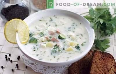 Okroshka cu mustar - supă de rădăcină picantă. Hash cu muștar pe apă minerală, suc de mere, kefir