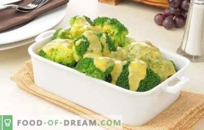 Broccoli in salsa cremosa con noce moscata, formaggio, funghi. Ricette di broccoli bolliti e cotti in salsa di panna