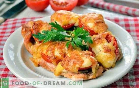 Braciole di pollo al forno - deliziosamente uniche! Cottura di braciole di pollo al forno con funghi, verdure, formaggio