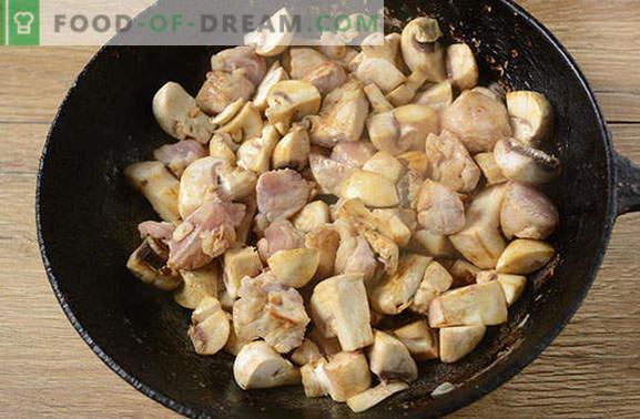 Arrosto con maiale e funghi in padella - un uomo dirà