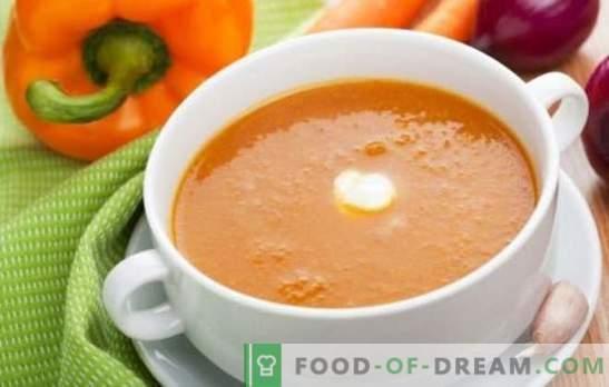 Zuppa di crema di verdure - un primo piatto delicato. Cucinare deliziose zuppe di verdure: pomodoro, zucchine, zucca, broccoli, spinaci, pepe