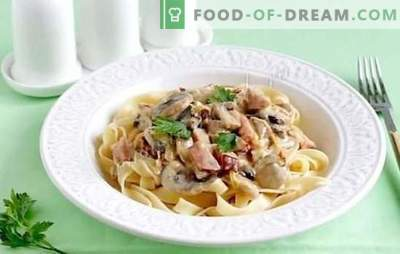 Fettuccine with mushrooms from sunny Italy. Fettuccine pasta recipes with mushrooms in a creamy sauce, with chicken, broccoli, ham and vegetables