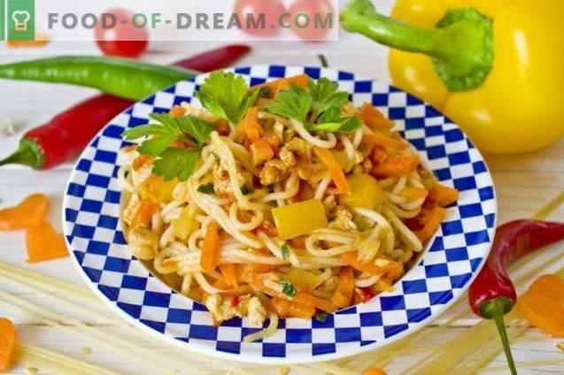 Spaghetti con pollo e verdure
