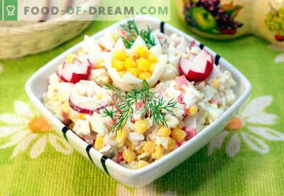 Insalata con polpa di granchio - le cinque migliori ricette. Come cucinare correttamente e gustoso un'insalata con carne di granchio.