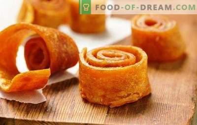 Le caramelle alla frutta fatte in casa dalle mele nell'asciugatrice sono una prelibatezza naturale e salutare! Cucinare le pastiglie fatte in casa dalle mele nell'asciugatrice