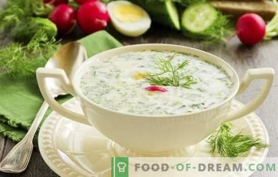 Okroshka auf Bräune - Frische mit Säure. Rezepte für eine leckere kalte Suppe: Okroschka mit Sonnenbräunung mit Fleisch, Wurst, Meeresfrüchten
