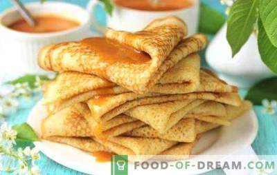 I pancakes su acqua bollita con latte sono traforati e sottili. Le migliori ricette per frittelle con acqua bollita con latte: ricotta, carne, crema