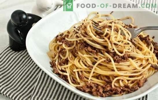 La pasta con carne macinata in una pentola a cottura lenta è un piatto familiare preferito. Una selezione di primi piatti con carne macinata in una pentola a cottura lenta in diverse varianti