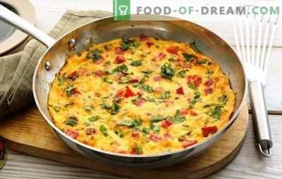 Frittata con prosciutto - una ricca e gustosa colazione in fretta. Le migliori ricette per frittata con prosciutto, formaggio, verdure, spezie