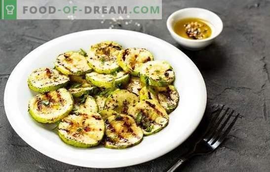 Zucchine grigliate - un piatto per vegani e mangiatori di carne! Ricette per zucchine grigliate succose e saporite con salse, sottaceti, formaggio, aglio