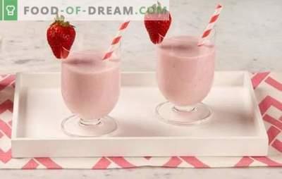 Frullati alla fragola - che bevanda deliziosa! Come preparare frullati di fragole con panna, menta, banana, miele, gelato?