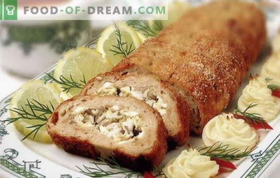 Polpettone a base di carne macinata - insolito dal solito! Ricette di diversi rotoli di carne da carne macinata al forno: con uova, funghi, formaggio, pomodoro