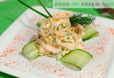 Insalata di calamari con ricette di cottura a prova di uova. Come cucinare un'insalata di calamari con un uovo.