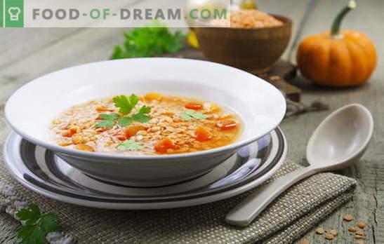 Minestre di lenticchie rosse - speziate e speziate. Ricette nazionali per zuppe di lenticchie rosse sostanziose e non nutritive
