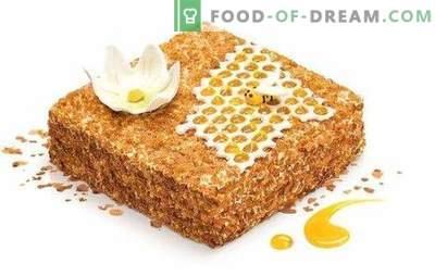 Torta al miele con panna acida. Una varietà di opzioni per la pasta e l'impregnazione per torta al miele con panna acida.